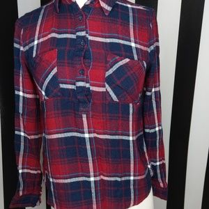 XS flannel red blue